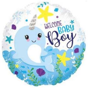 Narwhal Baby Boy Foil Balloon 18""