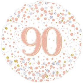 Rose Gold Sparkling Dots 90th Birthday Foil Balloon 18""