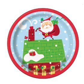 Colourful Santa Party Plates 18cm, pk8