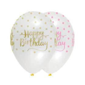 Pink Chic Happy Birthday Latex Balloons 12'', pk6