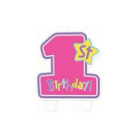 Hugs & Stitches 1st Birthday Girl Flat Moulded Candle
