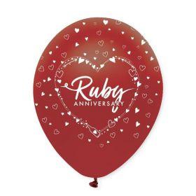 "Ruby Anniversary Latex Baloons 12"", pk6"