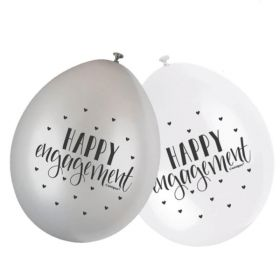 "White & Silver Engagement Latex Balloons 9"", pk10"