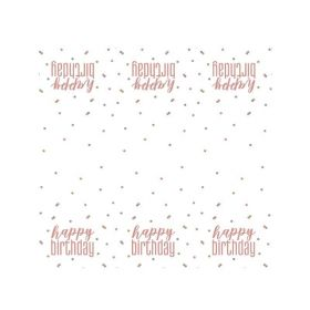 Glitz Rose Gold Happy Birthday Tablecover 1.37m x 2.13m
