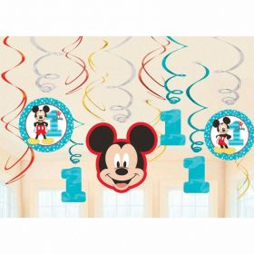 Mickey Mouse Fun to Be One Swirl Decorations, pk12