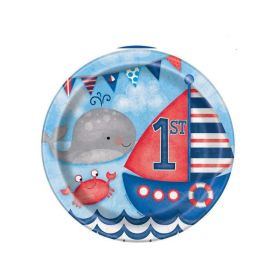 Nautical 1st Birthday plates pk8 9''