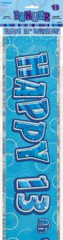 Blue Glitz Age 13 Prismatic Foil Banner 3.6m