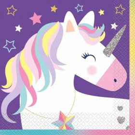 Unicorn Birthday Stars Napkins 33cm x 33cm, pk16