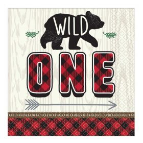 Little Lumberjack 1st Birthday Party Napkins 33cm x 33cm, pk16