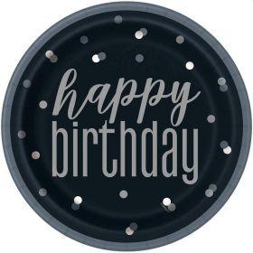 Glitz Black Happy Birthday Plates 23cm, pk8