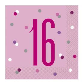 Glitz Pink Age 16 Napkins 33cm x 33cm, pk16