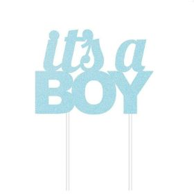 Blue Glitter Its a Boy Cake Topper