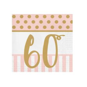 Pink Chic Happy 60th Napkins 33cm x 33cm, pk20