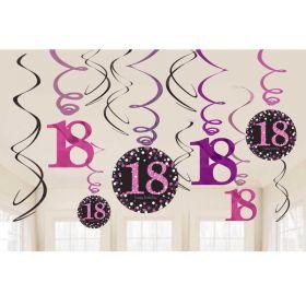 Pink Sparkling Celebration 18th Swirl Decoraion, pk12