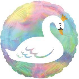 """Pastel Swan Iridescent Foil Balloon 18"""""""