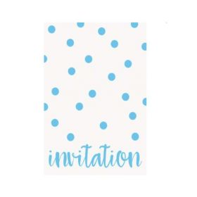 Pastel Blue Dots Party Invitations, pk8