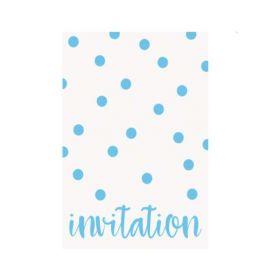 Pastel Blue Dots Party Invitations, pk8