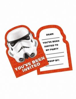 Stormtrooper Paper Party Invites, pk6