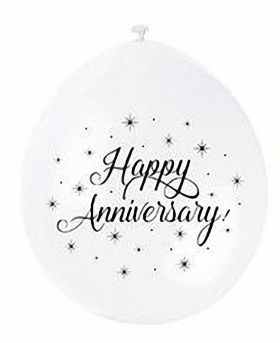 Happy Anniversary Age and Occasions White Latex Balloons 9'', pk10