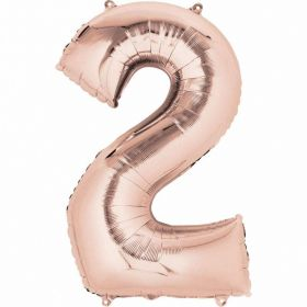 Rose Gold Number 2 SuperShape Foil Balloon