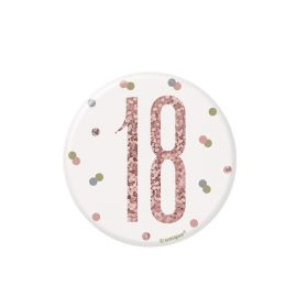 Glitz Rose Gold Age 18 Badge 7.5cm