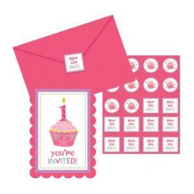 Sweet Little Cupcake Girl 1st Birthday Invitations, pk8