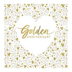 Golden Anniversary Luxury Napkins 33cm x 33cm, pk16