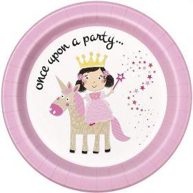 Pink Princess & Unicorn Party Plates 23cm, pl8