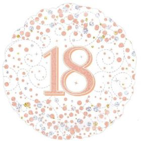 Rose Gold Sparkling Dots 18th Birthday Foil Balloon 18""