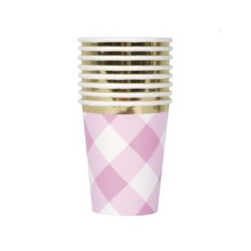 Pink Gingham 1st Birthday Party Cups 270ml, pk8