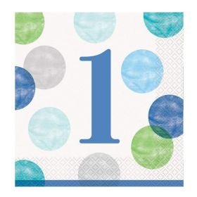 Blue Dots 1st Birthday Party Napkins 33cm x 33cm, pk16