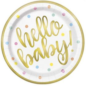 Gold Hello Baby Shower  Plates 23cm, pk8