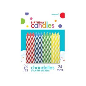Spiral Assorted Colours Candles, pk24