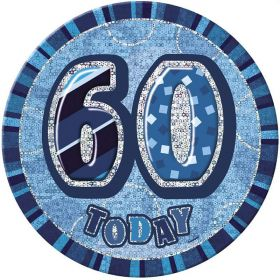 Blue Glitz Giant 60th Today Birthday Badge
