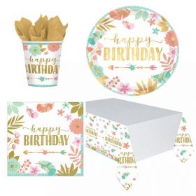 Boho Birthday Girl Party Tableware Pack for 8