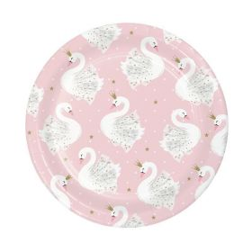 Swan Party Lunch Plates 18cm, pk8