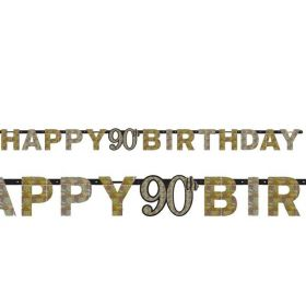 Gold Sparkling Celebration 90th Happy Birthday Prismatic letter Banner 2.1m x 17cm