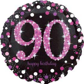"Pink Sparkling Celebration 90th Birthday Foil Balloon 18"""
