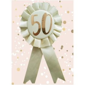 50th Birthday Rose Gold and Cream Rosette