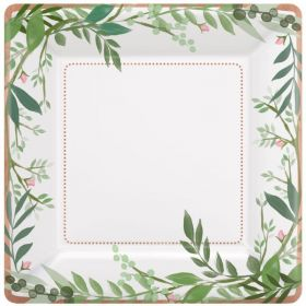 Love & Leaves Metallic Paper Plates 25cm, pk8