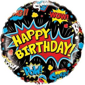 Superhero Foil Balloon Black 18""