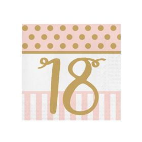 Pink Chic Happy 18th Napkins 33cm x 33cm, pk20