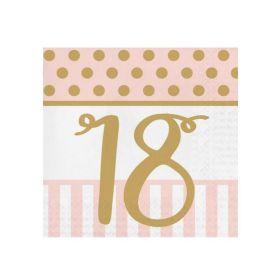 Pink Chic Happy 18th Napkins 33cm x 33cm
