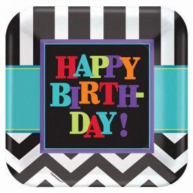 Chevron Happy Birthday Paper Square Plates 23cm, pk8