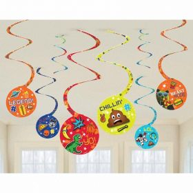 Epic Party Swirl Decorations, pk8