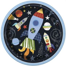 Outer Space Party Plates 22cm, pk8