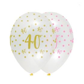 Pink Chic Happy Age 40 Latex Balloons 12'', pk6