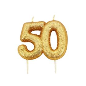 Age 50 Glitter Numeral Moulded Candle Gold