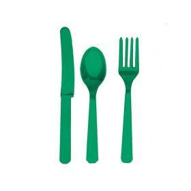 Festive Green Plastic Cutlery