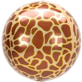 "Animalz Giraffe Print Orbz Foil Balloon 16"""